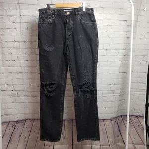 Garage Denim Jeans Black Ripped Mom High Waisted